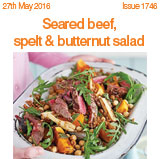 Seared beef, spelt and butternut salad