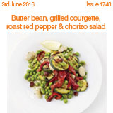Butter bean grilled courgett roast red pepper & chorizo salad