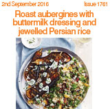 Roast aubergines with buttermilk dressing and jewelled Persian rice