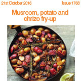 mushroom potato and chirizo fry up