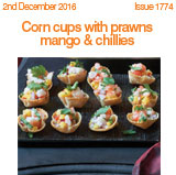 Corn cups with prawns mango and chillies