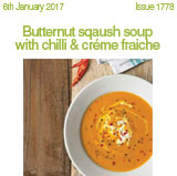 Butternut squash soup with chilli & creme fraiche