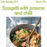 Spagetti with prawns and chilli