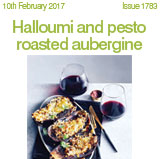 Halloumi and pesto roasted aubergine