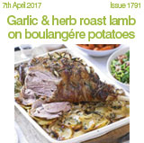 Garlic & herb roast lamb on boulangere potatoes