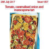 Tomato caramlised onion and marscapone tart