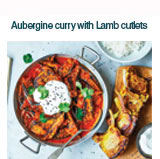 Aubergine curry with lamb cutlets
